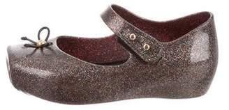 Mini Melissa Girls' Glitter Square-Toe Flats