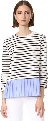 ENGLISH FACTORY Stripe Knit Top with Ruffle Detail $73 thestylecure.com