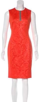 Versace Jacquard Zip-Accented Knee-Length Dress