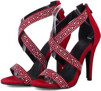 80fb9f62876ef3 Inornever High Heel Sandals Women Wedding Dress Stiletto Heel Rhinestone  Open Toe Ankle Strap Sandal with
