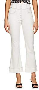 Ulla Johnson Women's Ellis Topstitched Crop Flared Jeans - White