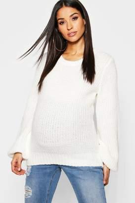 boohoo Maternity Knit Blousen Sleeve Jumper