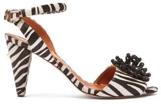 Osman Mae Zebra Calf Hair Sandals - Womens - Black White