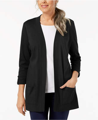 Karen Scott Cotton Button-Tab Cozy Cardigan, Created for Macy's