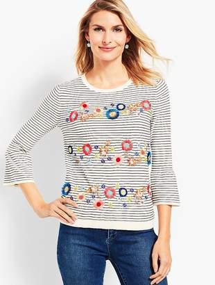 Talbots Floral Row Crewneck Sweater
