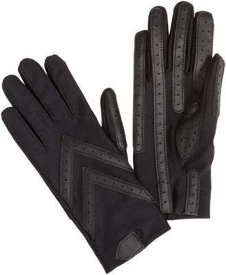Isotoner Womens Nylon Shortie Driving Gloves w/ Leather Palm Strips