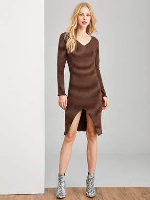 Shein Asymmetrical Hem Striped Dress