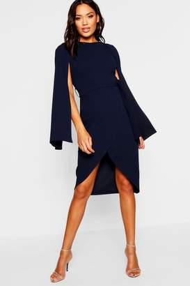 boohoo Cape Sleeve Tie Waist Wrap Midi Dress