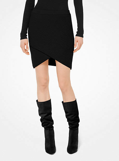 Michael Kors Cashmere Ribbed Surplice Skirt