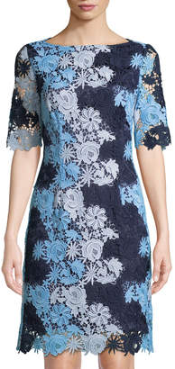 Tahari ASL Floral Lace Short-Sleeve Sheath Dress