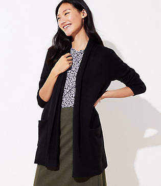 LOFT Shawl Pocket Open Cardigan