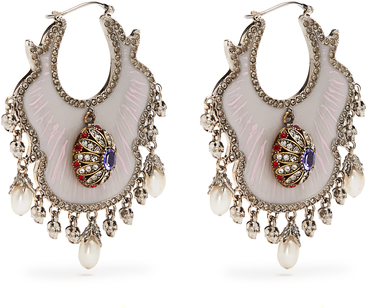 Alexander McQueen ALEXANDER MCQUEEN Crystal and pearl-embellished earrings