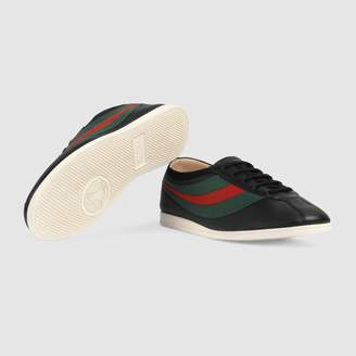 Gucci Leather low-top sneaker with Web