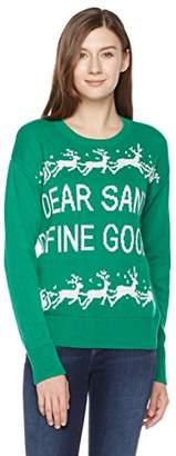 Ugly Fairisle Unisex Adult Jacquard Dear Santa Define Good Crewneck Christmas Sweater L Green/White