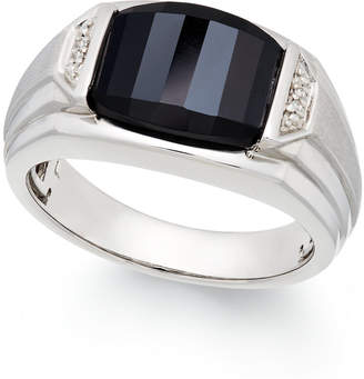 Macy's Men's Onyx (4-1/2 ct. t.w.) and Diamond Accent Ring in Sterling Silver