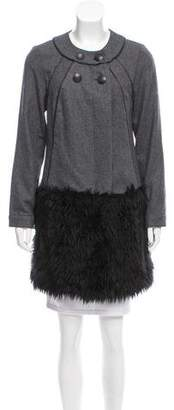 Walter Faux Fur Paneled Double-Breasted Coat