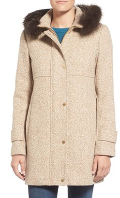 Women's Ellen Tracy Genuine Fox Fur Trim Tweed Duffle Coat $448 thestylecure.com