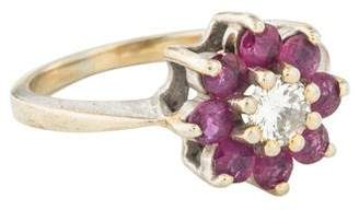 Ring 14K Diamond & Ruby Floral