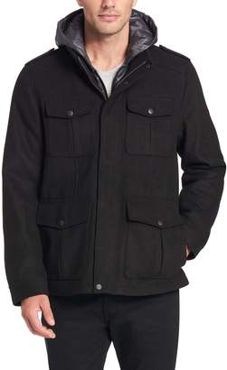 Dockers Men's Grayson Wool-Blend Hooded Military Jacket