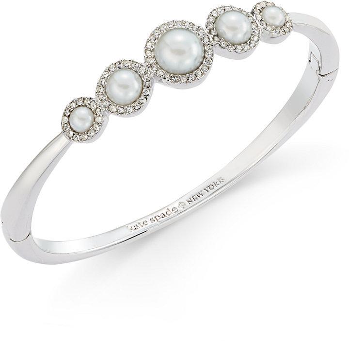 Kate Spadekate spade new york Silver-Tone Imitation Pearl and Pavé Halo Bangle Bracelet