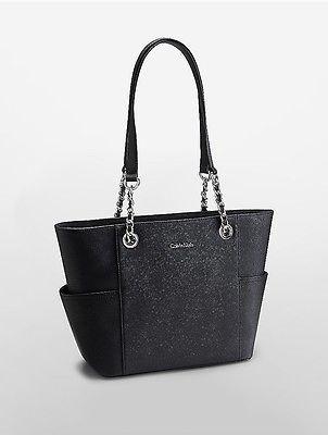 Calvin KleinCalvin Klein Womens Saffiano Leather Satchel Black