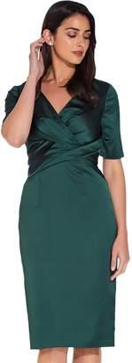 Adrianna Papell Forest Satin Wrap Midi Dress