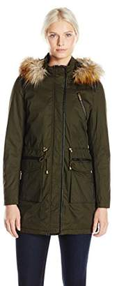 French Connection Women's Wax-Finish Anorak With Faux-Fur Trim