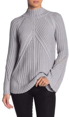 Andrea Jovine Solid Mock Neck Ribbed Sweater