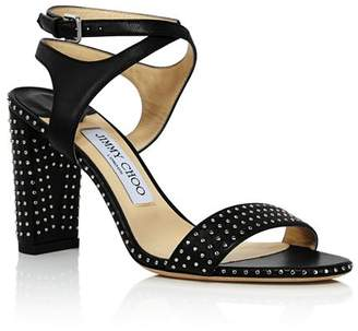 Jimmy Choo Women's Marine 85 Micro-Studded Leather High-Heel Sandals