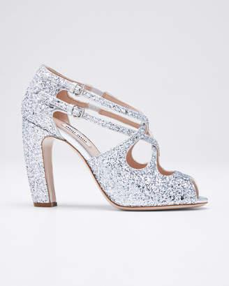 Miu Miu Speauntate Crisscross Glitter Sandals