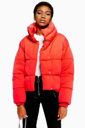 Topshop Red Wrap Puffer Jacket