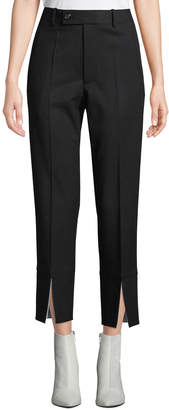 Helmut Lang Front-Slit Cropped Wool Suit Pants