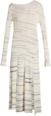 Asymmetric long-sleeved striped dress