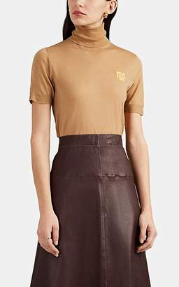 Prada Women's Logo Wool Short-Sleeve Turtleneck Sweater - Lt. brown