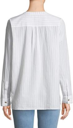 NYDJ Shimmer-Striped Lawn Henley Blouse