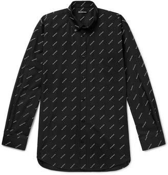 Balenciaga Button-Down Collar Logo-Print Cotton Shirt - Men - Black