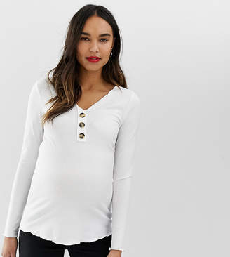 Asos DESIGN Maternity v neck ribbed top with button detail