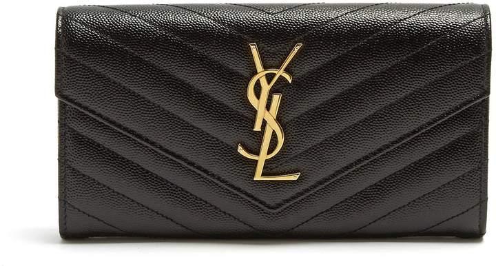 SAINT LAURENT Monogram quilted pebbled-leather wallet