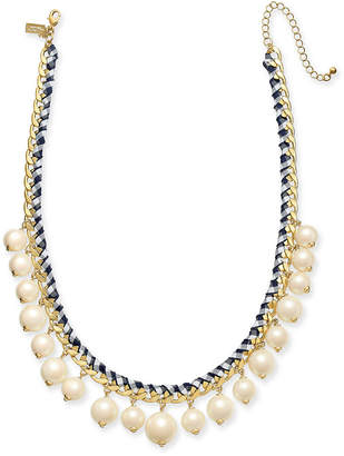 """Kate Spade Gold-Tone Cubic Zirconia & Imitation Pearl Woven Ribbon Collar Necklace, 18"""" + 3"""" extender"""