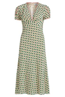 Libelula Tamara Dress In Palm Tree Print In Cream & Green