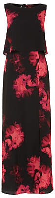 Phase Eight Ali Floral Printed Maxi Dress, Black/Hot Pink