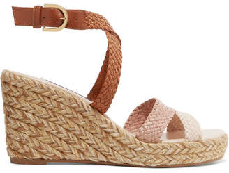 Stuart Weitzman Elsie Woven Leather Espadrille Wedge Sandals
