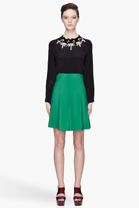 Marni EDITION Green colorblocked crystal embroidered Dress