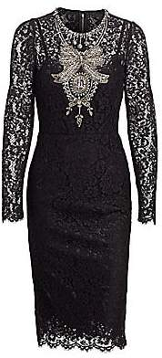 Dolce & Gabbana Dolce& Gabbana Dolce& Gabbana Women's Long Sleeve Lace Embroidered Dress