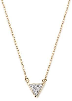 "Adina 14K Yellow Gold Super Tiny Pavé Diamond Triangle Necklace, 15"""
