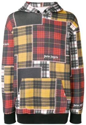 Palm Angels patchwork plaid hoodie
