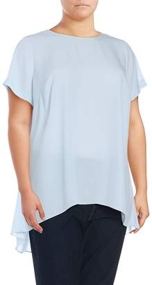 Vince Camuto Vince Camuto, Plus Size Women's Solid Pleated Hi-Lo Top - Smoke Blue, Size 1x (14-16)