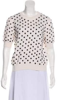 Oscar de la Renta Sequined Short Sleeve Sweater