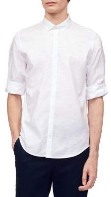 Calvin Klein Herringbone Slub Natural Stretch Roll-Sleeve Shirt