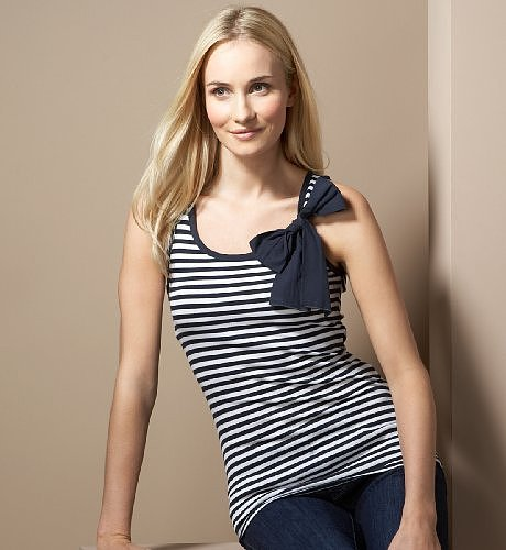 Cotton Rich Stripe Vest Top with Bow